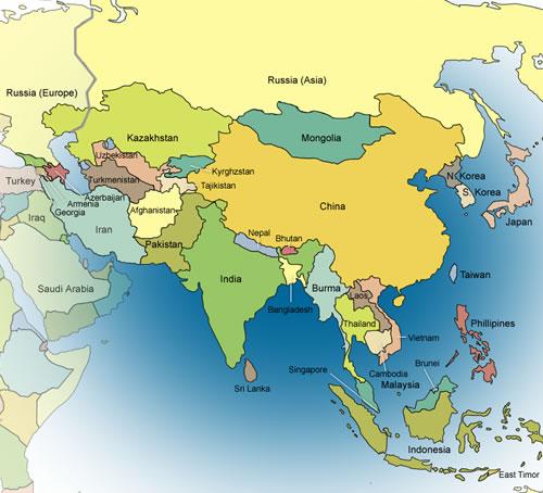 Orta Asya Hindistan Çin Haritası